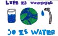 Natalia Rosales's poster with illustrations of water use and conservation