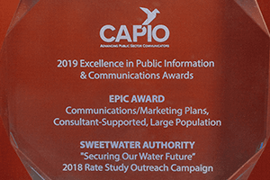 Photo of CAPIO EPIC award on desk