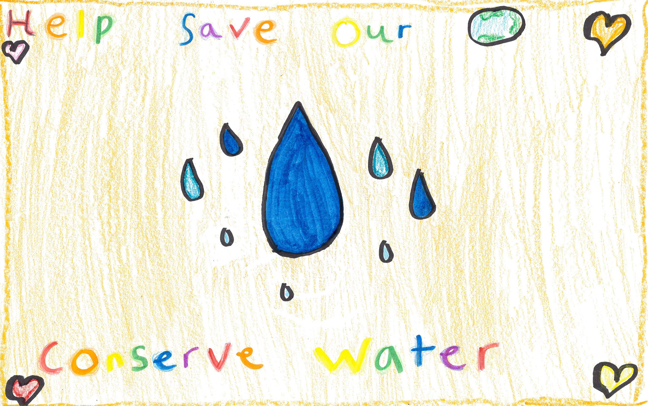 Michelle Romero&#39s poster with illustrations of water use and conservation