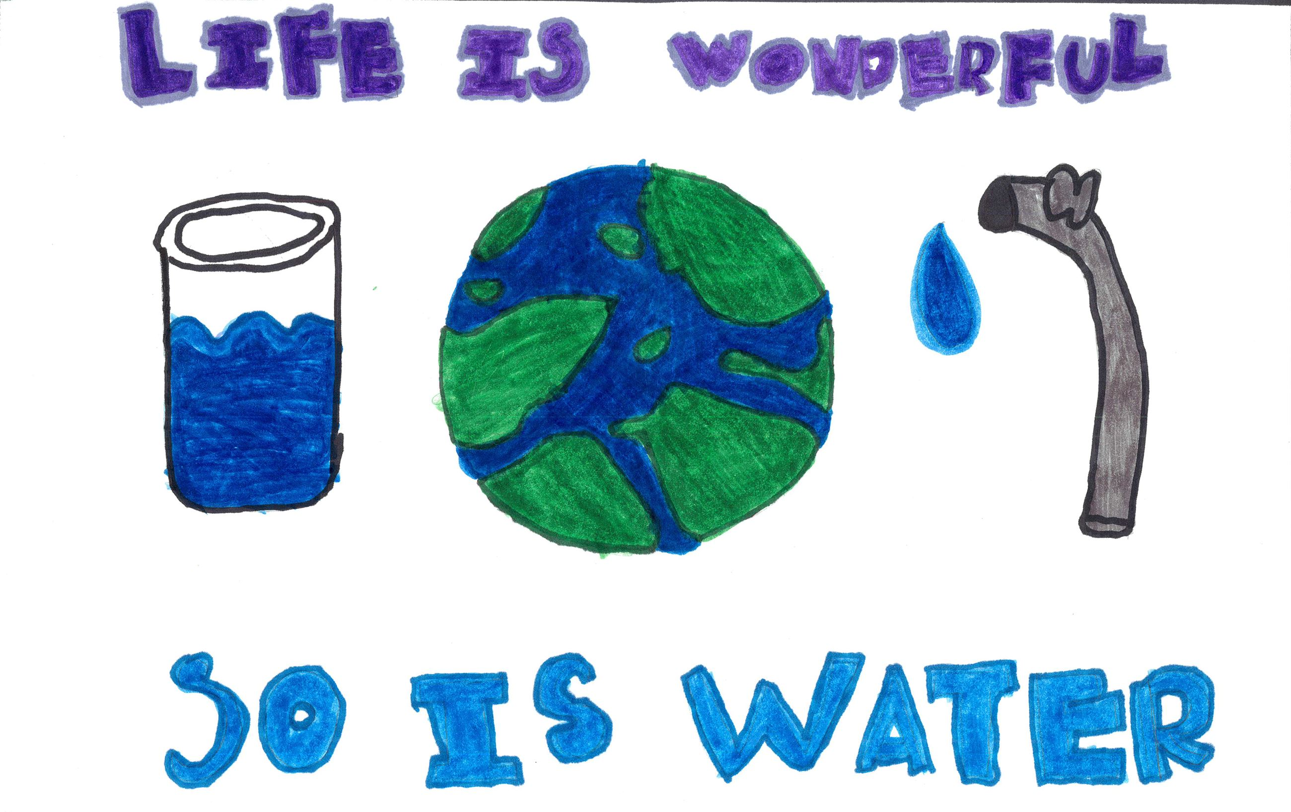 Natalia Rosales&#39s poster with illustrations of water use and conservation