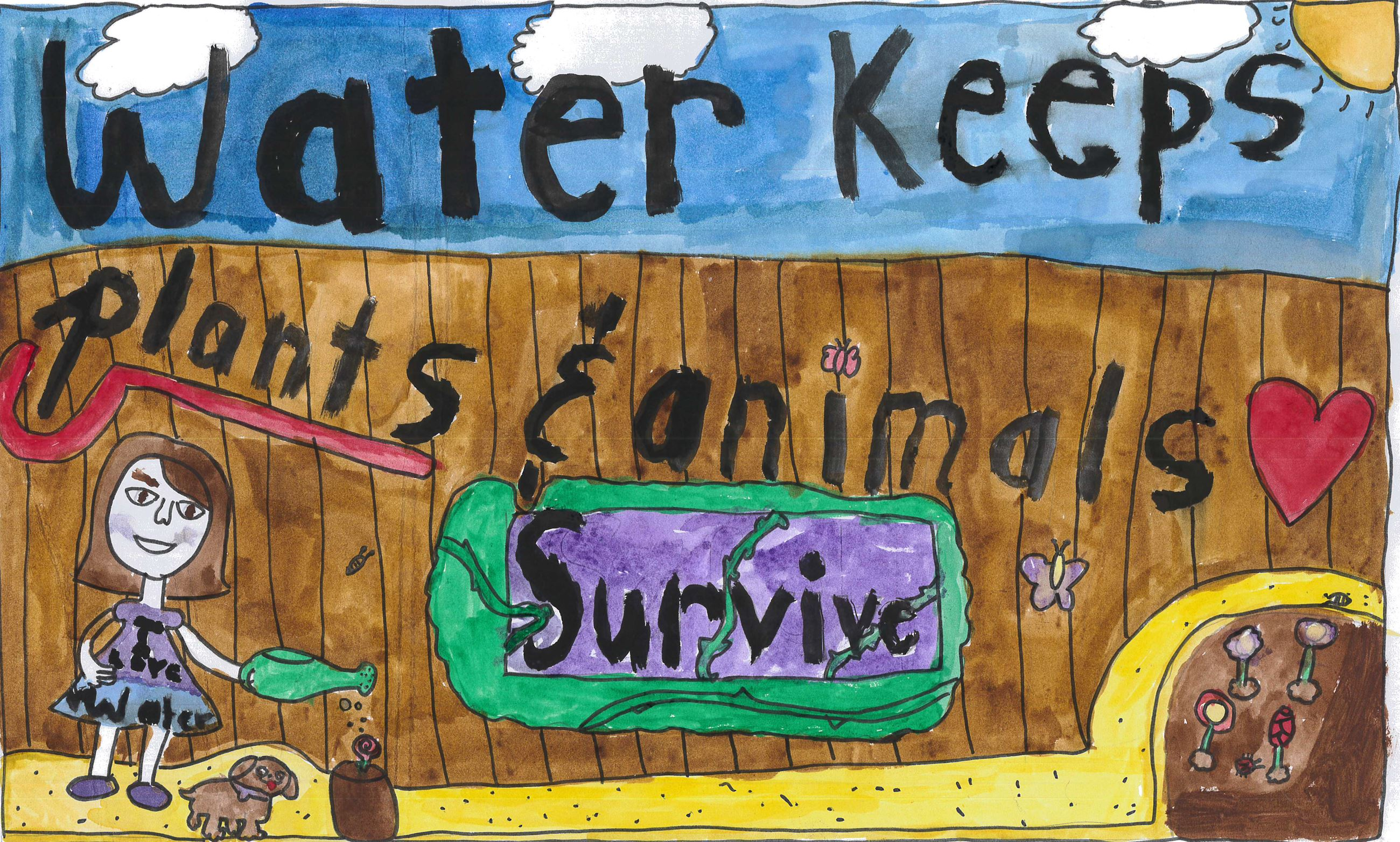 Sydney Shatwell&#39s poster with illustrations of water use and conservation