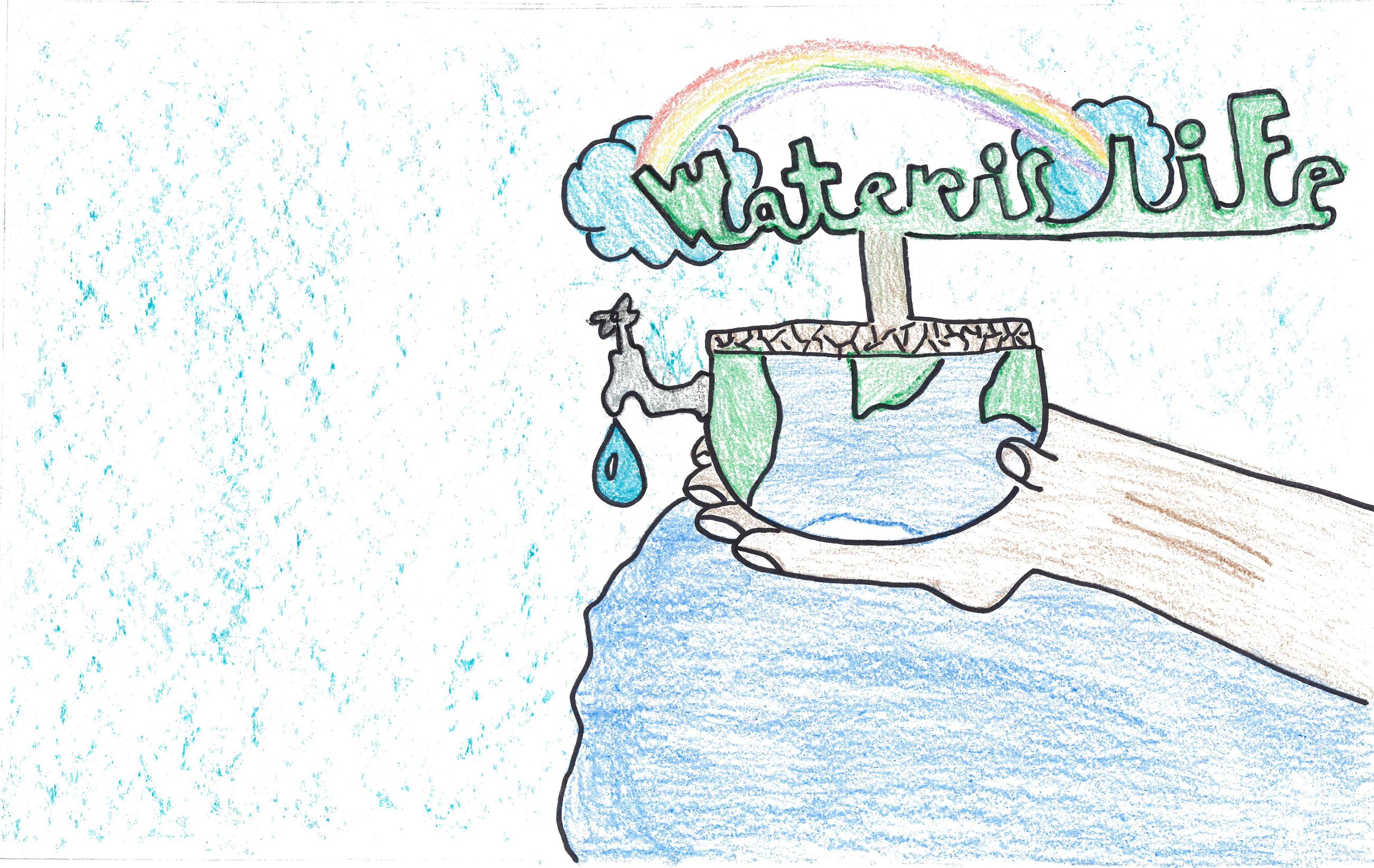 Adrian Haro&#39s poster with illustrations of water use and conservation