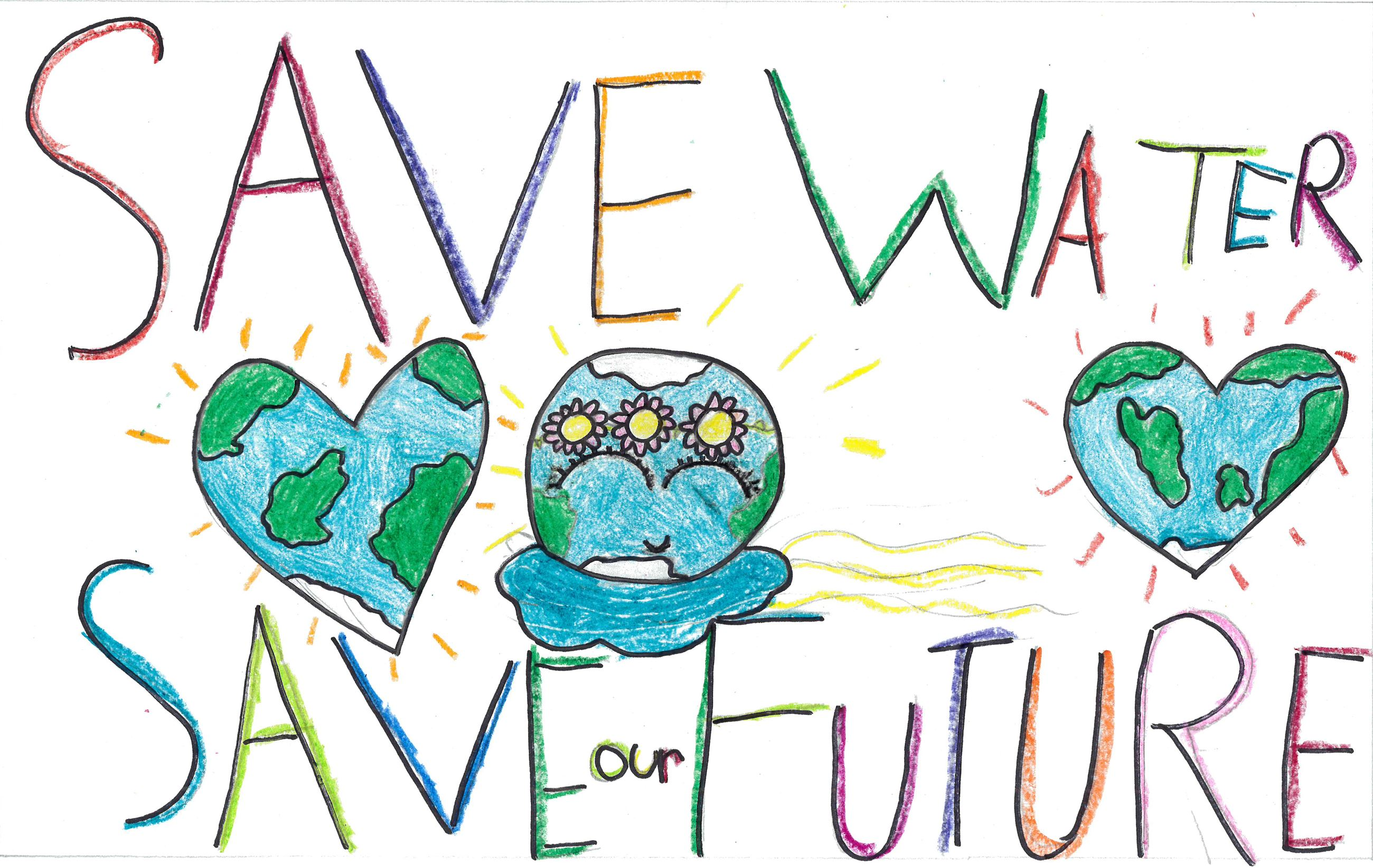 Alexa Garcia&#39s poster with illustrations of water use and conservation