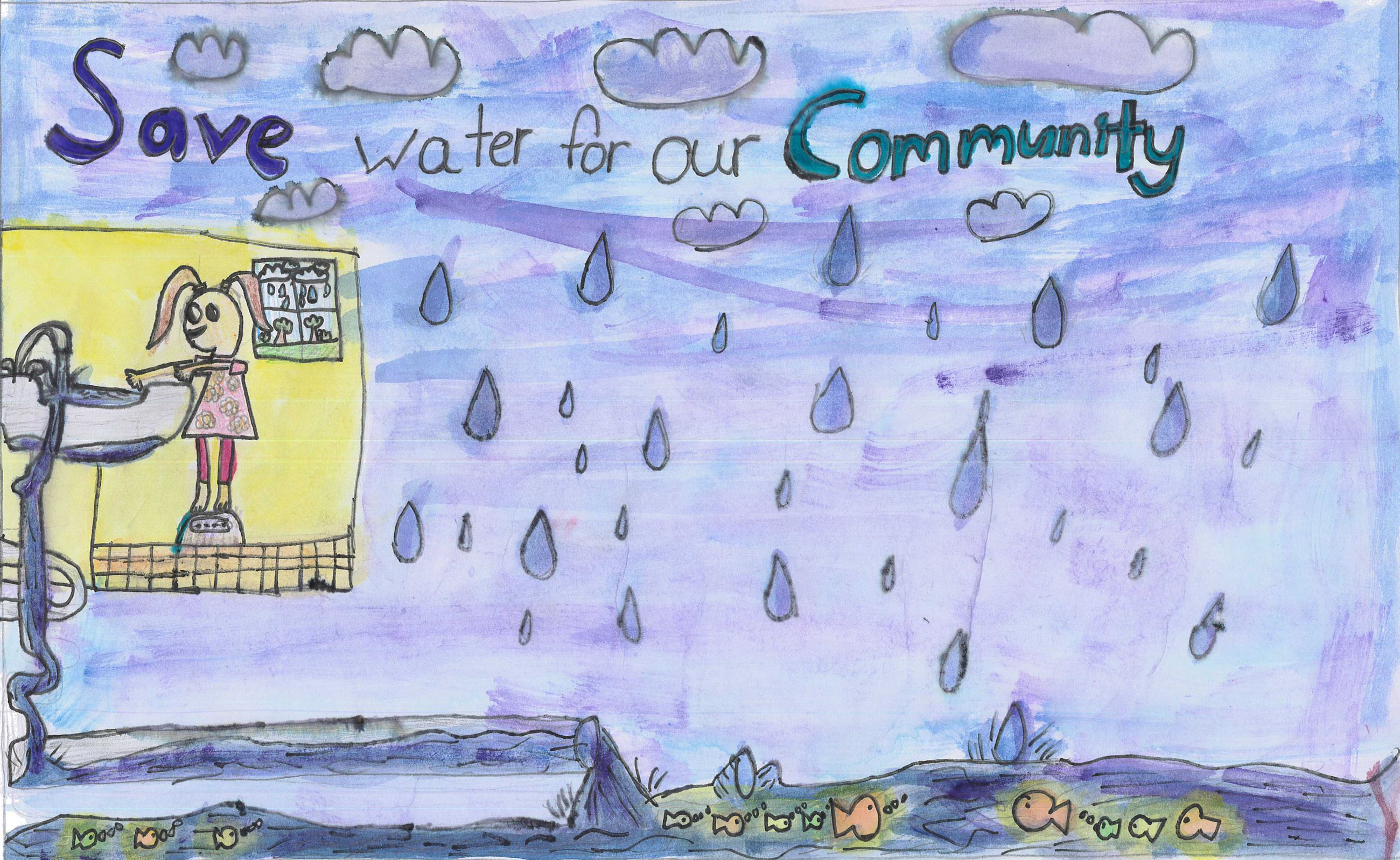 Analynn Pascual Bermudez&#39s poster with illustrations of water use and conservation