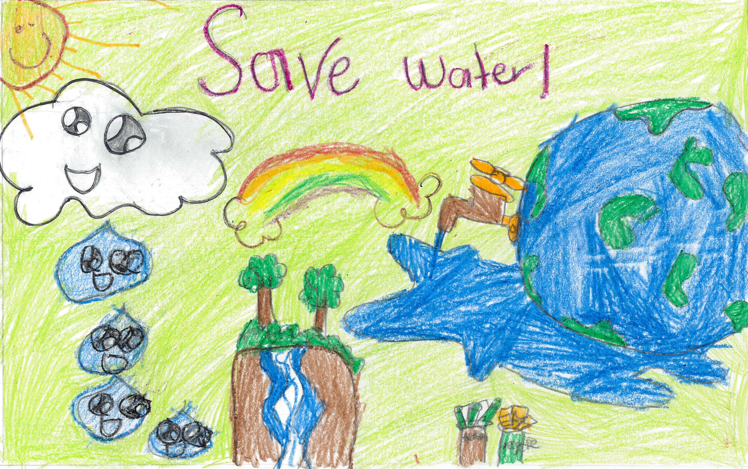 Dalissa Padilla&#39s poster with illustrations of water use and conservation