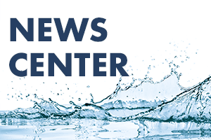 Splash of water with News Center text