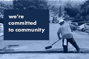 We're committed to community text and photo of utility worker