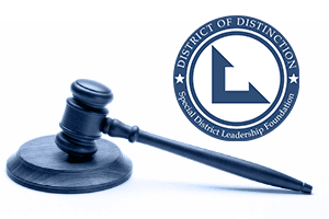 District of Distinction logo and gavel