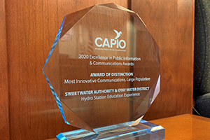2020 CAPIO Award of Distinction for Sweetwater Authority Hydro Station experience