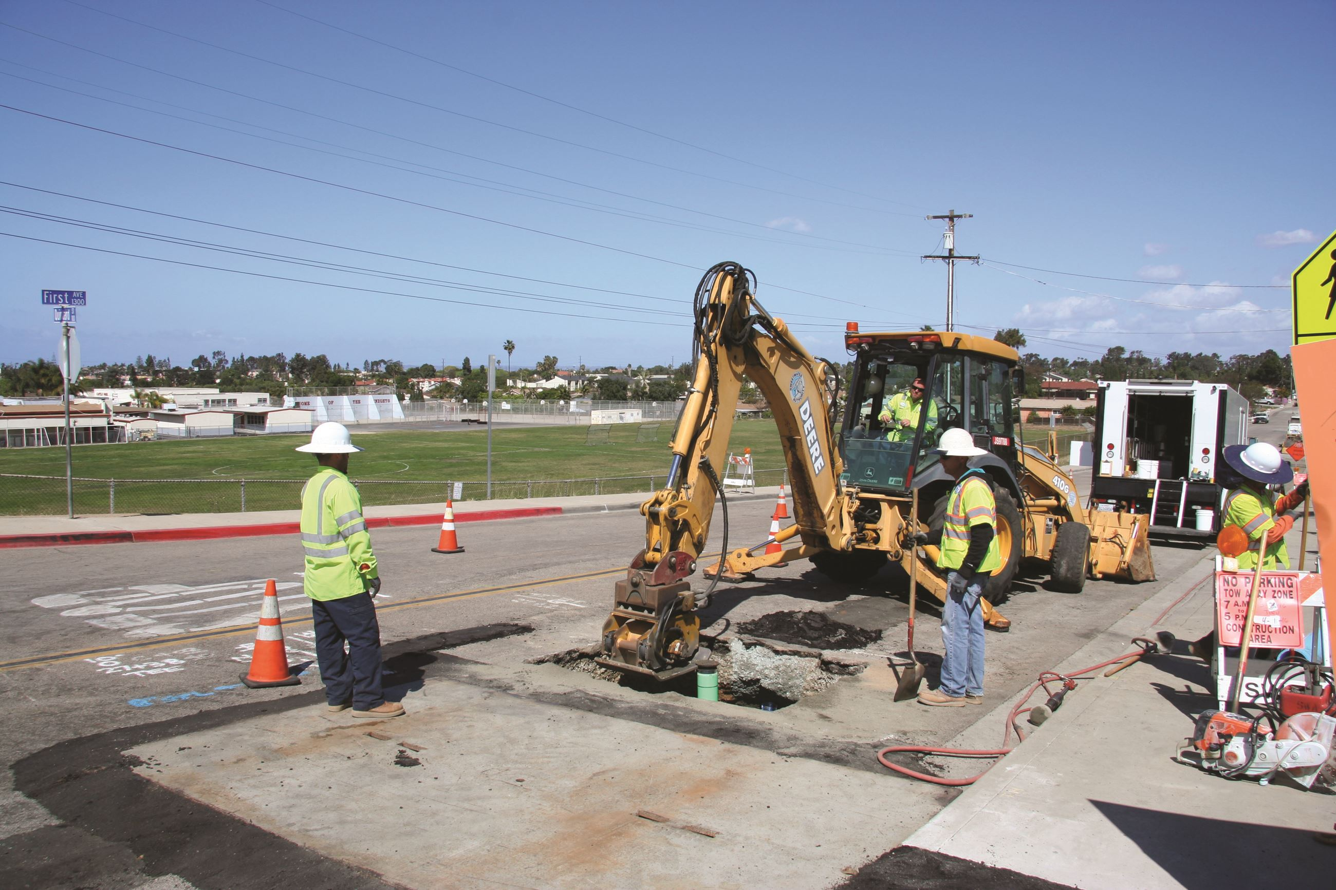 Crews work on First Avenue